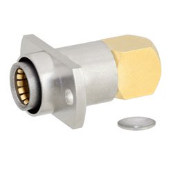RA BMA Jack Slide-On Connector Solder Attachment 2 Hole Flange For RG405, .086 SR, RG405 Tinned Cable Gold Body