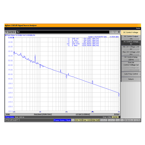 VCO (Voltage Controlled Oscillator) 0.175 inch Commercial Frequency of 3.57 GHz to 4.58 GHz, Phase Noise -83 dBc/Hz