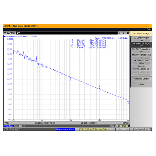 VCO (Voltage Controlled Oscillator) 0.175 inch Commercial Frequency of 4.8 GHz to 5.2 GHz, Phase Noise -80 dBc/Hz