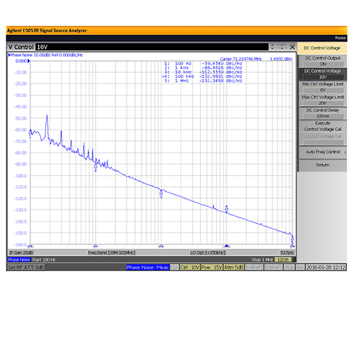 VCO (Voltage Controlled Oscillator) 0.95 inch Commercial Frequency of 40 MHz to 100 MHz, Phase Noise -118 dBc/Hz