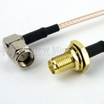 RA SMA Male to SMA Female Bulkhead Cable RG316 Coax
