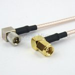 RA 10-32 Male to RA SMC Plug Cable RG316 Coax