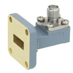 WR-42 to SMA Female Waveguide to Coax Adapter UG-595/U Square Cover Standard with 18 GHz to 26.5 GHz K Band in Copper, Paint