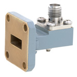 WR-42 to SMA Female Waveguide to Coax Adapter UG-597/U Square Cover with 18 GHz to 26.5 GHz K Band in Aluminum, Paint