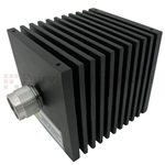 10 dB Fixed Attenuator N Male To N Female Directional Up To 18 GHz Rated To 50 Watts With Black Aluminum Heatsink Body