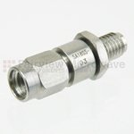 3 dB Fixed Attenuator SSMA Male To SSMA Female Up To 18 GHz Rated To 2 Watts With Passivated Stainless Steel Body