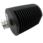 6 dB Fixed Attenuator TNC Male To TNC Female Up To 18 GHz Rated To 25 Watts With Black Aluminum Heatsink Body