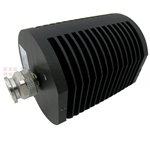 10 dB Fixed Attenuator TNC Male To TNC Female Up To 18 GHz Rated To 25 Watts With Black Aluminum Heatsink Body