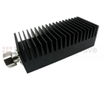30 dB Fixed Attenuator 7/16 Male To 7/16 Female Up To 3 GHz Rated To 100 Watts With Black Aluminum Heatsink Body