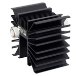20 dB Fixed Attenuator 7/16 Male To 7/16 Male Directional Up To 3 GHz Rated To 300 Watts With Black Aluminum Heatsink Body
