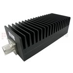 3 dB Fixed Attenuator N Male To N Female Up To 3 GHz Rated To 100 Watts With Black Aluminum Heatsink Body