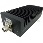 10 dB Fixed Attenuator N Male To N Female Directional Up To 3 GHz Rated To 200 Watts With Black Aluminum Heatsink Body