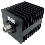 2 dB Fixed Attenuator N Male To N Female Up To 3 GHz Rated To 25 Watts With Black Aluminum Heatsink Body