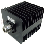 10 dB Fixed Attenuator N Male To N Female Up To 3 GHz Rated To 25 Watts With Black Aluminum Heatsink Body
