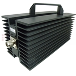 10 dB Fixed Attenuator N Male To N Female Up To 3 GHz Rated To 300 Watts With Black Aluminum Heatsink Paint Body