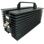 50 dB Fixed Attenuator N Male To N Female Up To 3 GHz Rated To 300 Watts With Black Aluminum Heatsink Paint Body