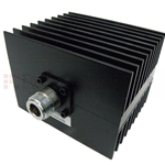3 dB Fixed Attenuator N Male To N Female Up To 3 GHz Rated To 50 Watts With Black Aluminum Heatsink Body