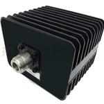 30 dB Fixed Attenuator N Male To N Female Up To 3 GHz Rated To 50 Watts With Black Aluminum Heatsink Body