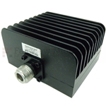 30 dB Fixed Attenuator N Female To N Female Up To 3 GHz Rated To 50 Watts With Black Aluminum Heatsink Body