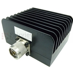 15 dB Fixed Attenuator N Male To N Female Up To 3 GHz Rated To 50 Watts With Black Aluminum Heatsink Body