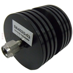 3 dB Fixed Attenuator 2.92mm Male To 2.92mm Female Up To 40 GHz Rated To 10 Watts With Black Aluminum Heatsink Body