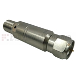 10 dB Fixed Attenuator 75 Ohm F Male To 75 Ohm F Female Up To 4 GHz Rated To 0.25 Watts With Brass Tri-Metal Body