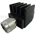 15 dB Fixed Attenuator N Male To N Female Up To 4 GHz Rated To 25 Watts With Black Aluminum Heatsink Body