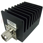 2 dB Fixed Attenuator N Male To N Female Up To 4 GHz Rated To 50 Watts With Black Aluminum Heatsink Body