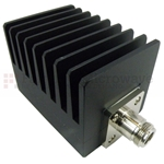 15 dB Fixed Attenuator N Male To N Female Up To 4 GHz Rated To 50 Watts With Black Aluminum Heatsink Body