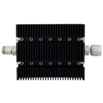 50 dB Fixed Attenuator N Female To N Male Directional Up To 6 GHz Rated To 100 Watts With Black Aluminum Heatsink Body