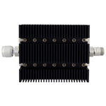 50 dB Fixed Attenuator N Male To N Female Directional Up To 6 GHz Rated To 100 Watts With Black Aluminum Heatsink Body