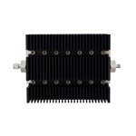 60 dB Fixed Attenuator SMA Male To SMA Female Directional Up To 6 GHz Rated To 100 Watts With Black Aluminum Heatsink Body