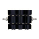 6 dB Fixed Attenuator TNC Female To TNC Female Directional Up To 6 GHz Rated To 100 Watts With Black Aluminum Heatsink Body