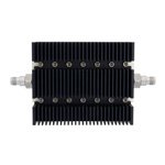 50 dB Fixed Attenuator TNC Female To TNC Female Directional Up To 6 GHz Rated To 100 Watts With Black Aluminum Heatsink Body