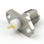 SMA Female Connector Stub Terminal Solder Attachment 2 Hole Flange