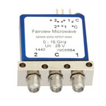 SPDT Latching DC to 18 GHz Electro-Mechanical Relay Switch, Indicators, Self Cut Off, up to 240W, 28V, SMA