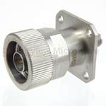 4 Hole Flange SMA Female to N Male Adapter with Passivated Stainless Steel Body