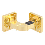 WR-51 Waveguide H-Bend Instrumentation Grade Using UBR180 Flange With a 15 GHz to 22 GHz Frequency Range