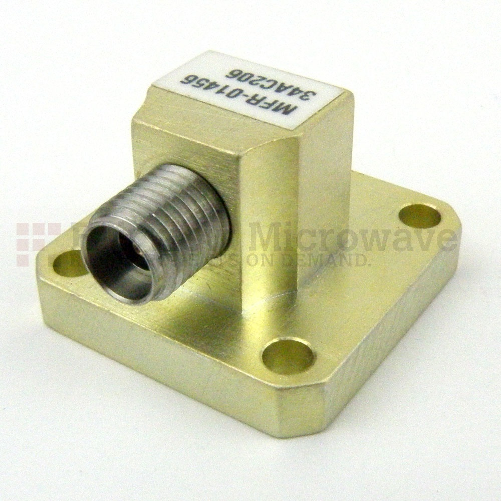 WR-34 to 2.92mm Female Waveguide to Coax Adapter Square Cover Flange With 22 GHz to 33 GHz Frequency Range For K-Ka Band
