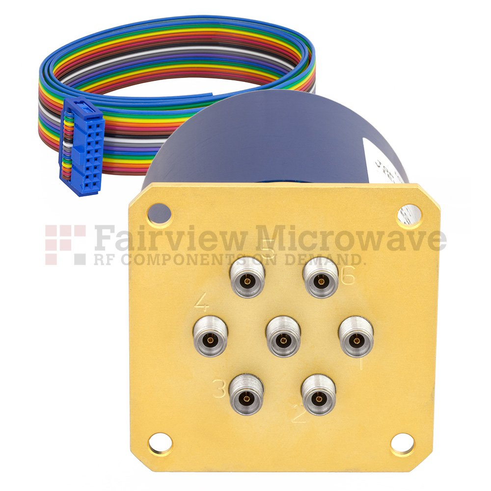 SP6T Latching 0.05 dB Low Insertion Loss Repeatability DC to 40 GHz Terminated Relay Switch, Indicators, Self Cut Off, 5W, 24V, 2.92mm