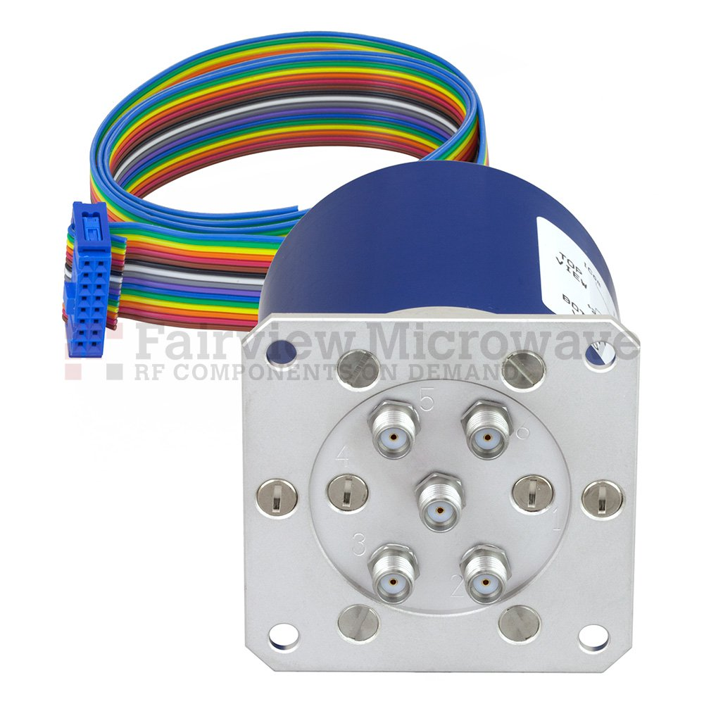 SP4T Latching 0.03 dB Low Insertion Loss Repeatability DC to 20 GHz Terminated Relay Switch, Indicators, Self Cut Off, Reset, 70W, 24V, SMA