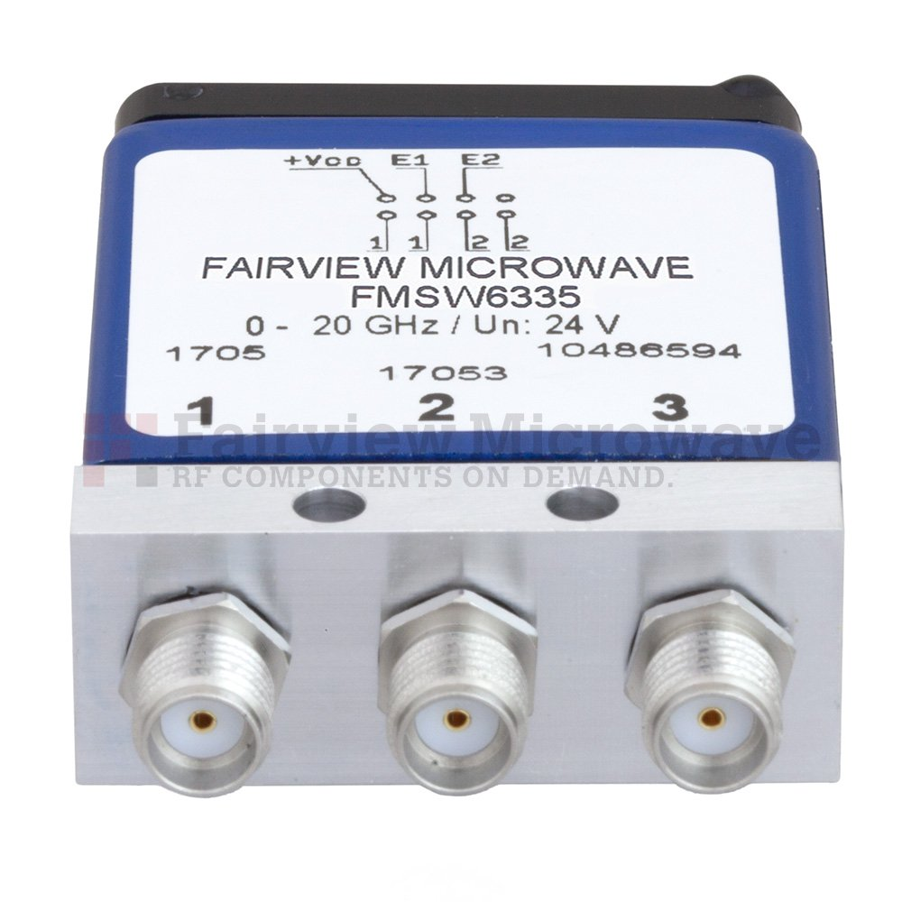 SP4T Latching 0.03 dB Low Insertion Loss Repeatability DC to 20 GHz Terminated Relay Switch, Indicators, Self Cut Off, TTL, 70W, 24V, SMA
