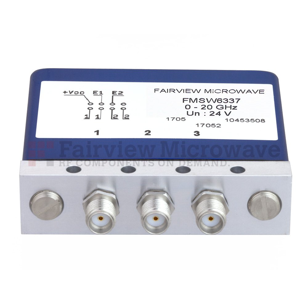 SPDT Latching 0.03 dB Low Insertion Loss Repeatability DC to 20 GHz Terminated Relay Switch, Indicators, Self Cut Off, 1W, 24V, SMA