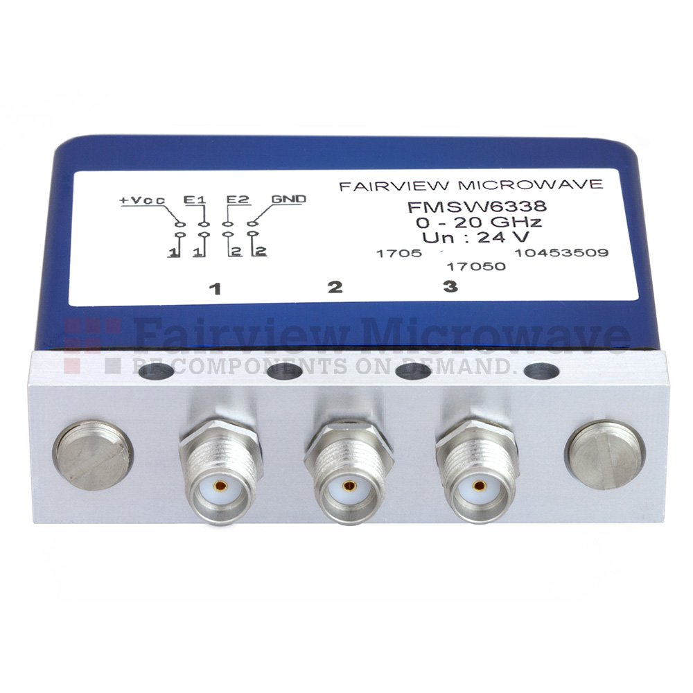 SPDT Latching 0.03 dB Low Insertion Loss Repeatability DC to 20 GHz Terminated Relay Switch, Indicators, Self Cut Off, TTL, 1W, 24V, SMA