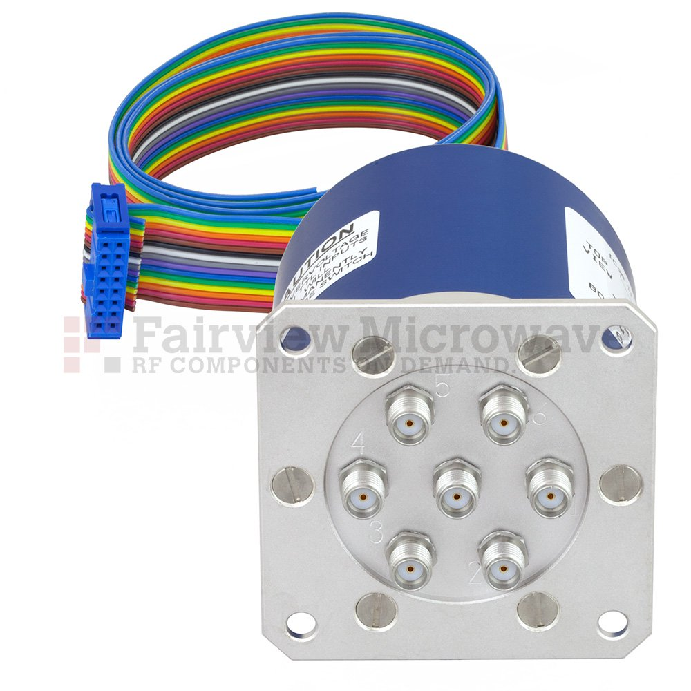 SP6T Latching 0.03 dB Low Insertion Loss Repeatability DC to 20 GHz Terminated Relay Switch, Indicators, Self Cut Off, TTL, 70W, 24V, SMA