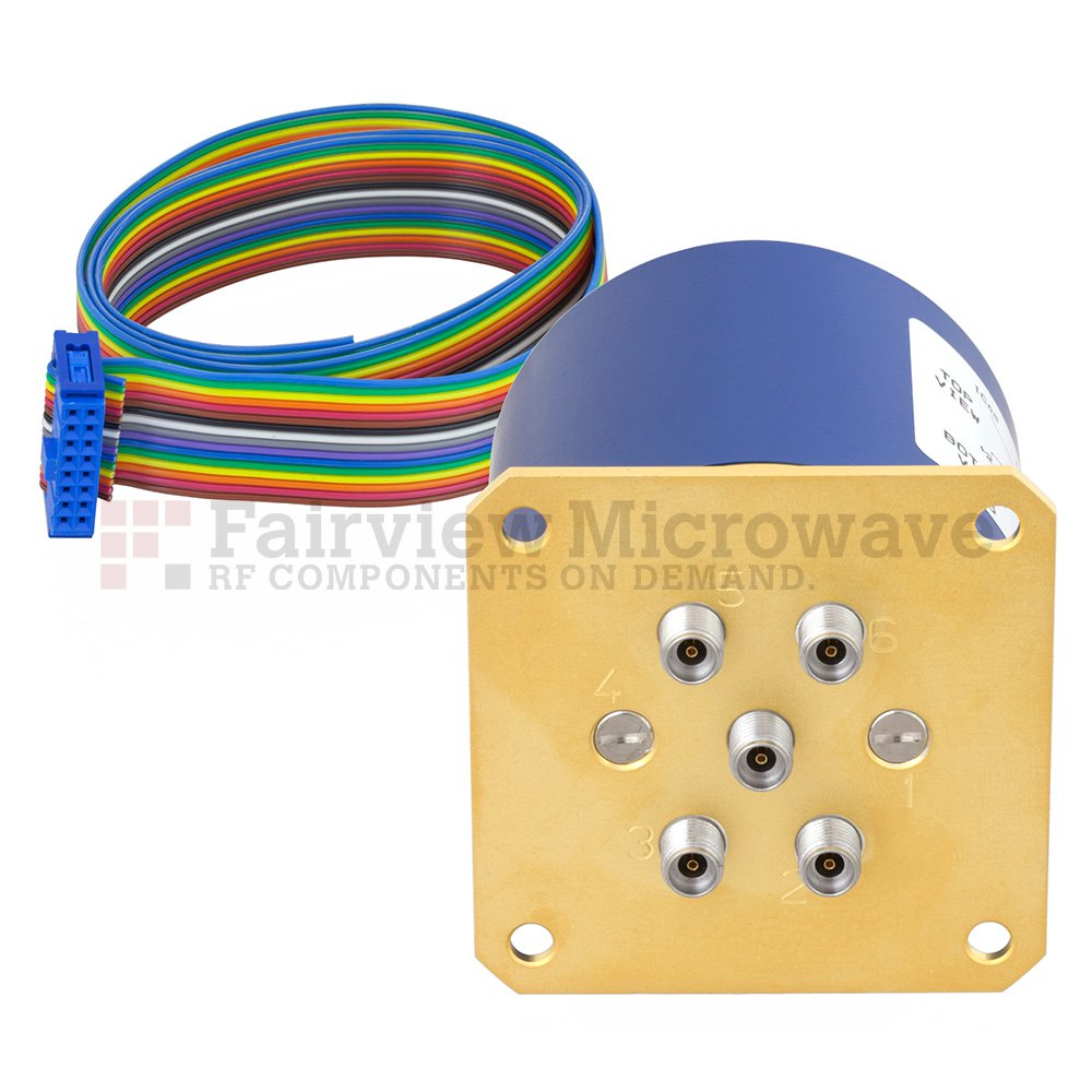 SP4T Latching 0.05 dB Low Insertion Loss Repeatability DC to 40 GHz Terminated Relay Switch, Indicators, Self Cut Off, TTL, 5W, 24V, 2.92mm