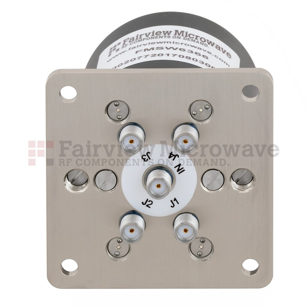 SP4T Latching DC to 26.5 GHz Terminated Electro-Mechanical Relay Switch, up to 90W, 12V, SMA