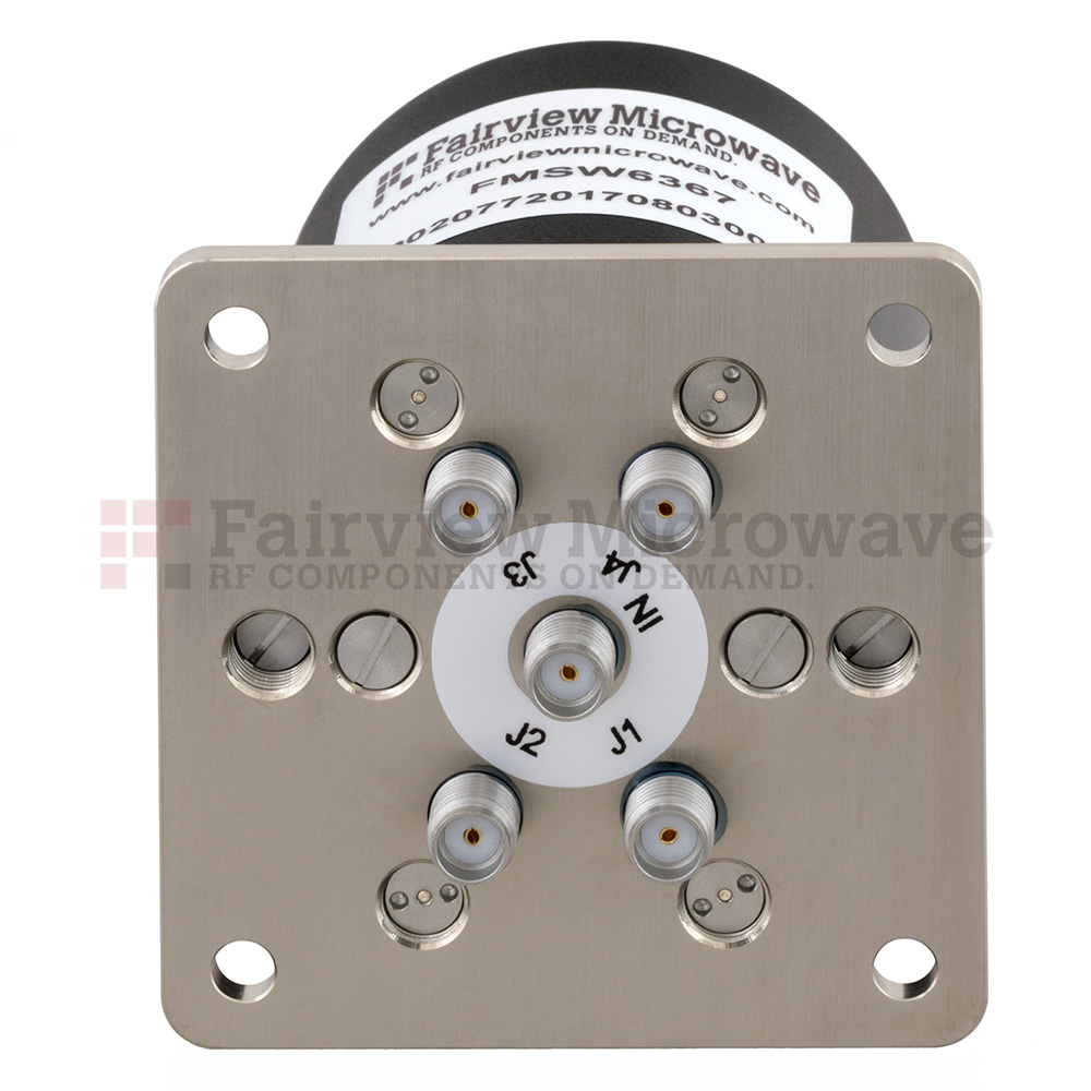 SP4T Latching DC to 26.5 GHz Terminated Electro-Mechanical Relay Switch, up to 90W, 28V, SMA