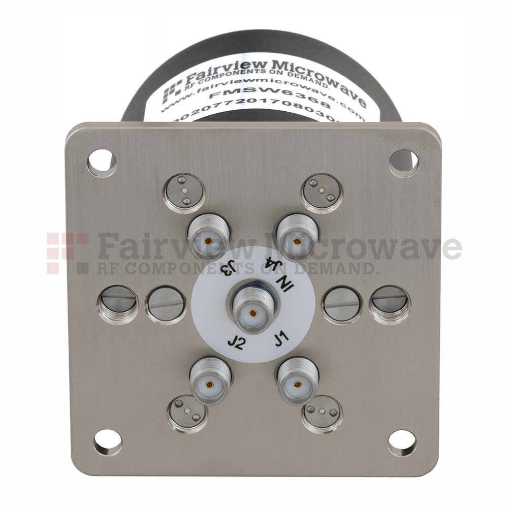 SP4T NO DC to 18 GHz Terminated Electro-Mechanical Relay Switch, up to 90W, 12V, SMA