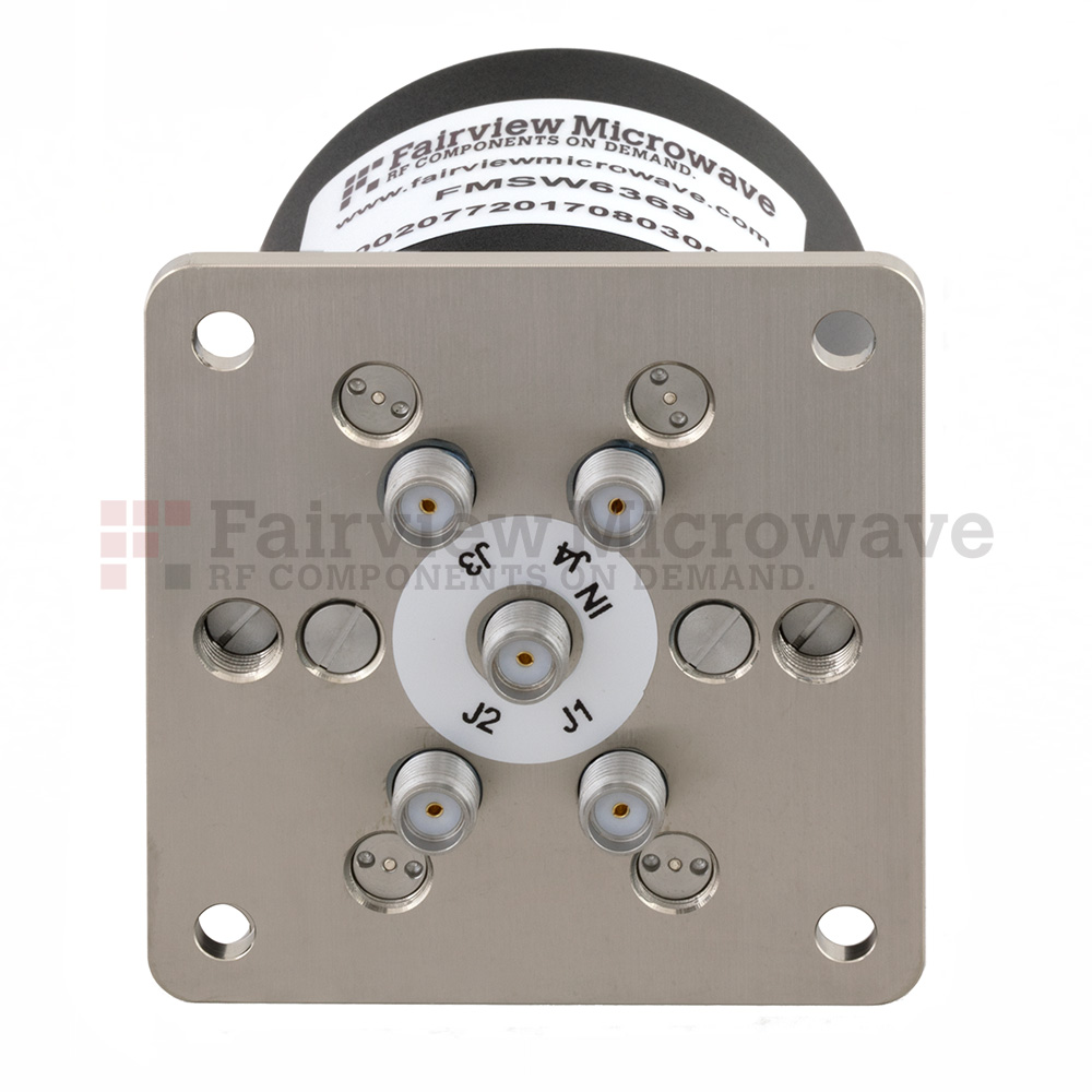 SP4T NO DC to 18 GHz Terminated Electro-Mechanical Relay Switch, up to 90W, 28V, SMA